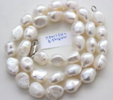 classic 10-11mm south sea natural baroque white pearl necklace 18inch  SS001