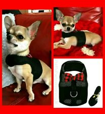 XXXS Tiny Teacup Puppy Dog Coat Chihuahua Harness and Leash Lead Starter Set Blk