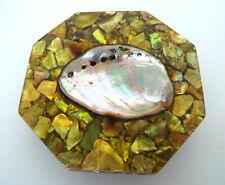 Mid Century Modern Trivet Green Footed Acrylic Abalone Shell Retro Tramp Art