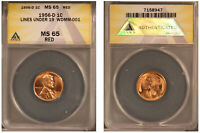 1956-D 1C WDMM-001 - Lines under 19 - ANACS MS65RD BU Lincoln Wheat Cent - 947