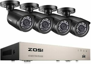 ZOSI 8-Channel HD 720P Video Security Camera System 4 x 1280TVL 720P