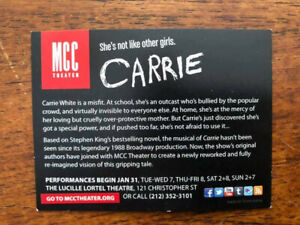 Carrie the  musical REMAKE mini ad/flyer Broadway NYC Marin Mazzie Derek Klena