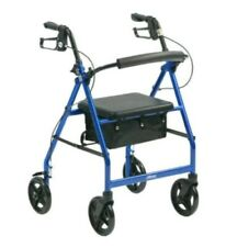 "Drive blue Folding Rollator with Seat 8"" Wheels Walker Walking Frame Mobility R8"