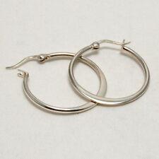 Hoop Earrings Sterling Silver 925 Snap Lock 25mm Round Flat Edge Bottom