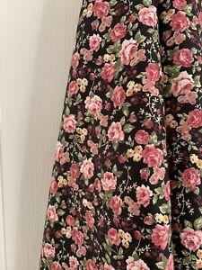 Rose pink / black floral silk ? fabric – Dressmaking crafts – large remnant 1m