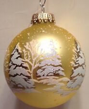 Christmas Ornament Blown Glass Ball Gold Snow Covered Glittery Pine Trees