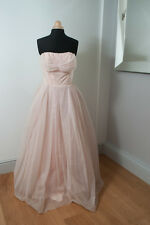 1950s vintage ball gown wedding dress pink tulle fabric & swavroksi crystals s12