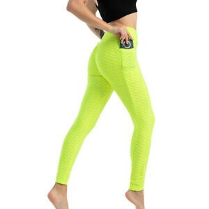 Women Fitness Leggings Bubble w/Pockets Hot Pilate Yoga Gym Pants Trousers