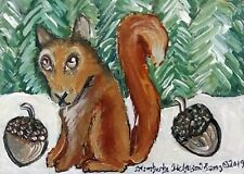 SQUIRREL with Nuts ACEO 2.5x3.5 Miniature Art Print by Kimberly Helgeson Sams