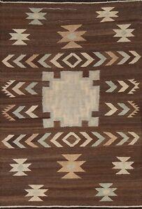Geometric Modern Kilim Afghan Oriental Area Rug Hand-woven Reversible 5x7 Carpet