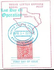 1st Day Texas Letter Express LOCAL POST Last Day Fort Worth 1970 Cover 1s