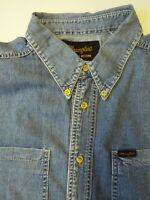 WRANGLER DENIM SHIRT MEN'S  REGULAR XL MID BLUE LSHT714
