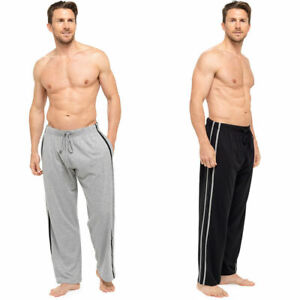 New Mens 2 Pk Contrast Stripe Lounge Pants Pajama Trousers Pj Gift Bottoms