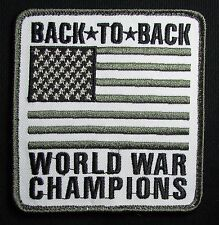 BACK TO BACK WORLD WAR CHAMPIONS 2 USA XL FLAG US ARMY SWAT BADGE MORALE PATCH