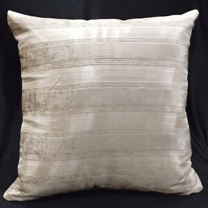 vb09a Light Taupe and Khaki Stripe Thick Cotton Blend Cushion Cover/Pillow Case