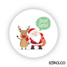 Pack of 24 Secret Santa paper Stickers, Father Christmas Stickers, Santa Labels
