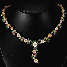 Sterling Silver 925 Rose Gold Coated Mother Of Pearl & Mixed Gem Necklace 18-20