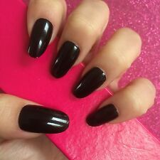 Full Cover Hand Painted False Nails. Oval High Gloss Black Nails. 24 Nails.