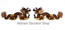 Lot 2 Hand Carved Wood Art Intarsia Dragon - Sign wall plaque for home decor