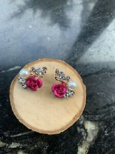 NEW Pink Rose Pearl Diamanté Earrings Day Of The Dead fashion jewellery
