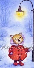 """Original  Watercolor Miniature 2,5 x 5"""" Cat in a Hat by Elena Mezhibovsky"""