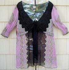 SINGLE Dresses 100% Silk Semi Sheer Multi Tunic Top Medium