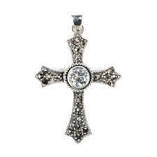 Cross Marcasite Pendant with CZ Sterling Silver 925 Christian Jewelry Gift 48 mm