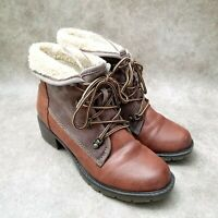Sporto Womens Sandy Sz 6.5 M Brown Faux Leather Lace Up Lined Ankle Boots