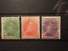 timbre stamps BELGIQUE BELGIUM Albert 1er 1914 Yt 129 130 131 * Red Cross