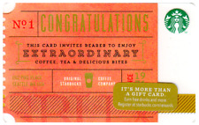 """Starbucks Collectible Gift Card - 2014 """"Ticket Congratulations"""" Coffee Card"""