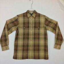 New Ralph Lauren Flannel Wool Shirt Mens Small Brown Plaid