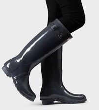 Hunter 'Original Tall' Dark Slate Glossy Rain Boots Size 6US/37EU