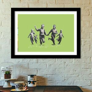 banksy riot police hippies poster print all sizes modern art deco banksy
