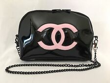 CHANEL VIP Gift Cross Body Bag Shell Clutch Black Glossy 0620-6 BNWB Authentic