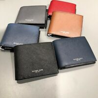 Michael Kors Mens Harrison 3 in 1 Billfold Wallet Passcase Leather Black Blue