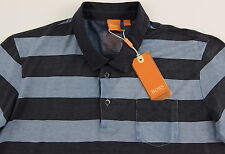 Men's HUGO BOSS Blue Gray Striped Polo Shirt Small S NWT NEW Soft Cotton Wow!
