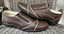 TOD'S Brown Leather Slip On Shoes Size 7 Contrast Stitch Double Tongue Elastic