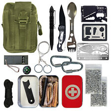 Survival Kit Fatwood Ferro Rod Whistle Compass Knife Saw Camping Emergency