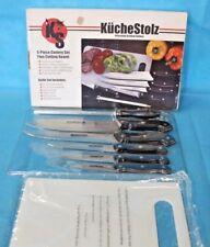 KUCHESTOLZ 6 Piece Cutlery Chef KNIFE Set w/ Cutting Board & Sharpener