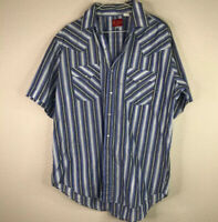 Vintage Mens Large Rly Plains Blue Snap Front Short Sleeve Striped Western Shirt