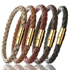Genuine Leather Wrist Band gold-schließe Ladies Men's Stainless Steel Braided