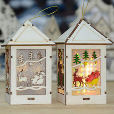 LED Light Wood House Christmas Tree Fairy Light Hanging Ornaments Decoration NEW
