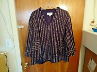 Womens Danny & Nicole Size 22W Zip Up Animal Print 3/4 Sleeve Jacket / Top