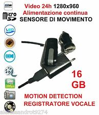 Spy VideoCamera Spia FULL HD MOTION DETECTION SENSORE MOVIMENTO 24H su 24 16GB