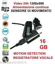 Spy VideoCamera Spia FULL HD MOTION DETECTION SENSORE MOVIMENTO 24H su 24 16GB