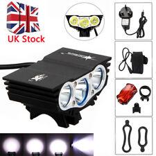UK Stock 15000lm XML T6 X3 LED Headlight MTB Front Light Solar Bicycle Accessory