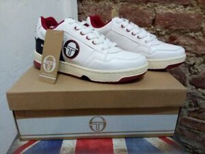 SERGIO TACCHINI PC84 100% LEATHER SNEAKERS WHITE/BLACK/RED, NEW! CASUAL