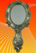 Hand Mirror Poly Stone Silver L.24x12cm Furniture Living Decoration Mirror