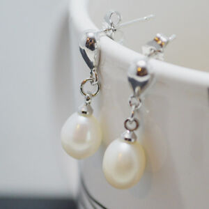White 8-9 Cultured Freshwater Pearl Rhodium Plated Teardrop Dangle Earrings Gift