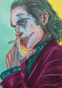 Original Aceo art sketch card Joker Joaquin Phoenix DC Ink